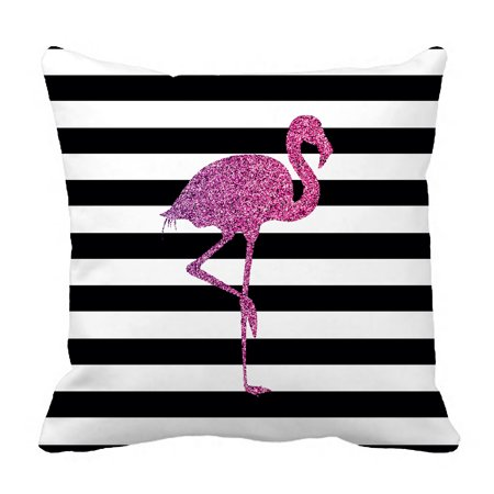 YKCG Glitter Pink Flamingo Black and White Stripes Pillowcase Pillow Cushion Case Cover Twin Sides 18x18 inches ()