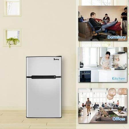 ZOKOP Double Door Mini Fridge Freezer for Bedroom Office or Dorm BCD-90 AC115V/60Hz 90L/3.2CU.FT Household Refrigerator