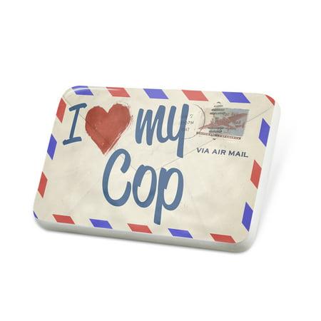 Porcelein Pin I Love my Cop, Vintage Letter Lapel Badge – NEONBLOND](Cop Badge)