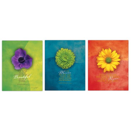 Inspirational Floral Close-Up Bible Verse Set; Inspirational Religious Decor; Three 11x14in Unframed Paper Posters