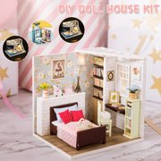 DIY LED Light Kids Dollhouse Toy, 11 Style 3D Wood Handcraft Doll House Model Play Set with Furniture,  Kids Children Fun Christmas Gifts