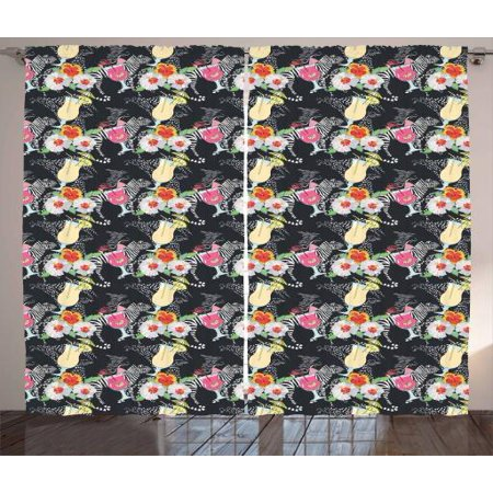 Aloha Curtains 2 Panels Set, Pattern with Cocktails and Hibiscus Blossoms on Zebra Background Hawaiian Luau Theme, Window Drapes for Living Room Bedroom, 108W X 108L Inches, Multicolor, by Ambesonne