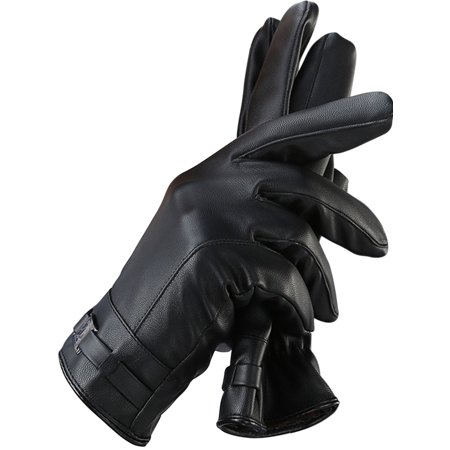 Touch Screen Gloves, Coxeer Leather Winter Thermal Gloves Ski Gloves Cycling Gloves for Men Boys Christmas Gift,Black ()