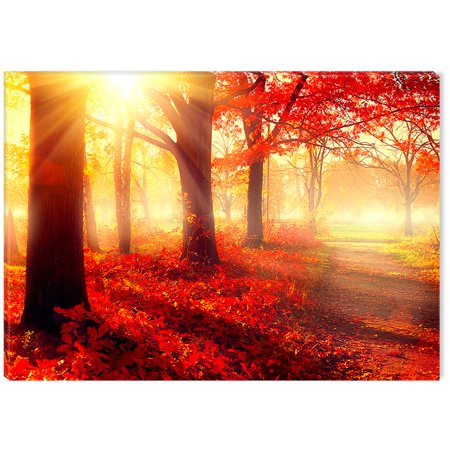 Startonight Canvas Wall Art Red Morning In The Forest Usa Design For Home Decor Illuminated Nature Painting Modern Canvas Artwork Framed Ready To