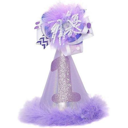Girls Lavender 1st Birthday Spiral Faux Fur Trim Party Hat