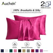 "2 Pack Satin Silk Pillowcase for Hair and Skin, Ultra Silky Satin Pillow Covers with Envelope Closure, Both Sides Artificial Silk, Multiple Colors and Sizes - Standard Size (20""x26"")  Rose"