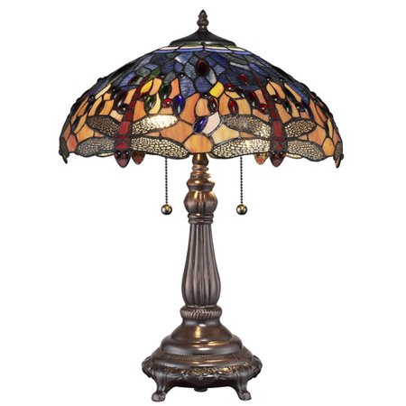 Serena d'italia Tiffany 2 light Red Dragonfly 25 in. Table Lamp