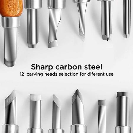 Pumpkin Carving Tool (Peroptimist 12pcs Wood Carving Tools Knife Kit for DIY Sculpture Carpenter Beginners, SK5 Carbon Steel Carving Chisels Knife Set with Storage Case for Carving Rubber, Pumpkins, Soap,)