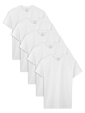 Fruit of the Loom Boys White Crew Undershirts, 5 Pack Sizes 4 -18/20