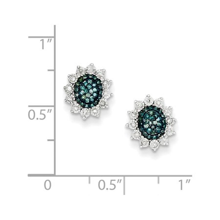 925 Sterling Silver Blue and White Diamond Post (9x10mm) Earrings - image 2 of 3