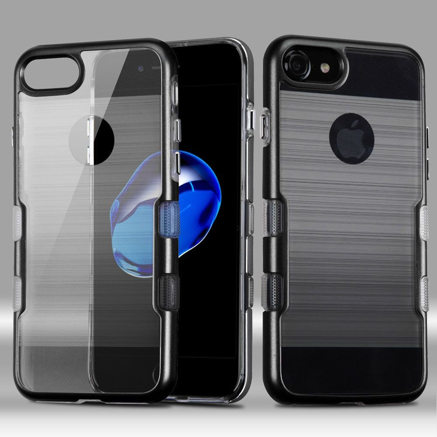 iPhone 8 Case, iPhone 7 Case, by Insten Tuff Dual Layer [Shock Absorbing] Hybrid Brushed Hard Plastic/Soft TPU Rubber Case Cover For Apple iPhone 8 / iPhone 7, Black/Smoke