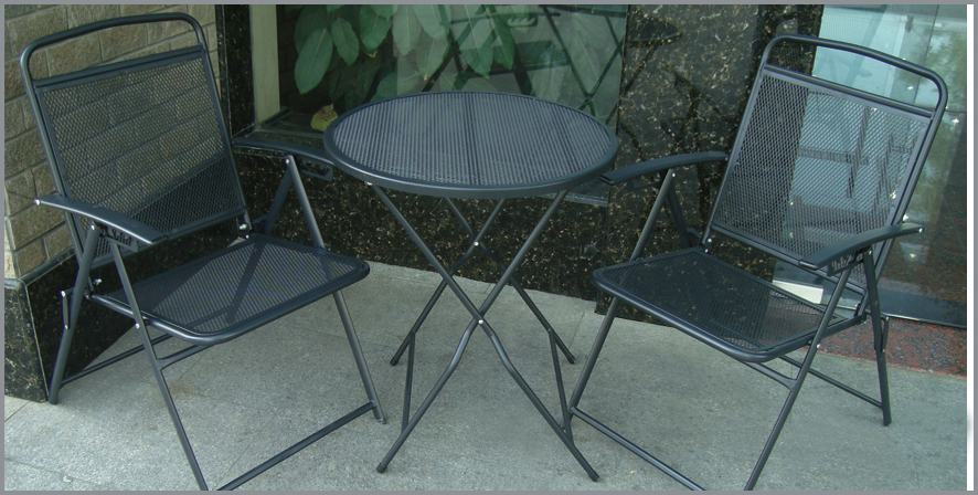 Bistro Set Patio Set 3pc Table U0026 Chairs Outdoor Furniture Wrought Iron CAFE  Set Black