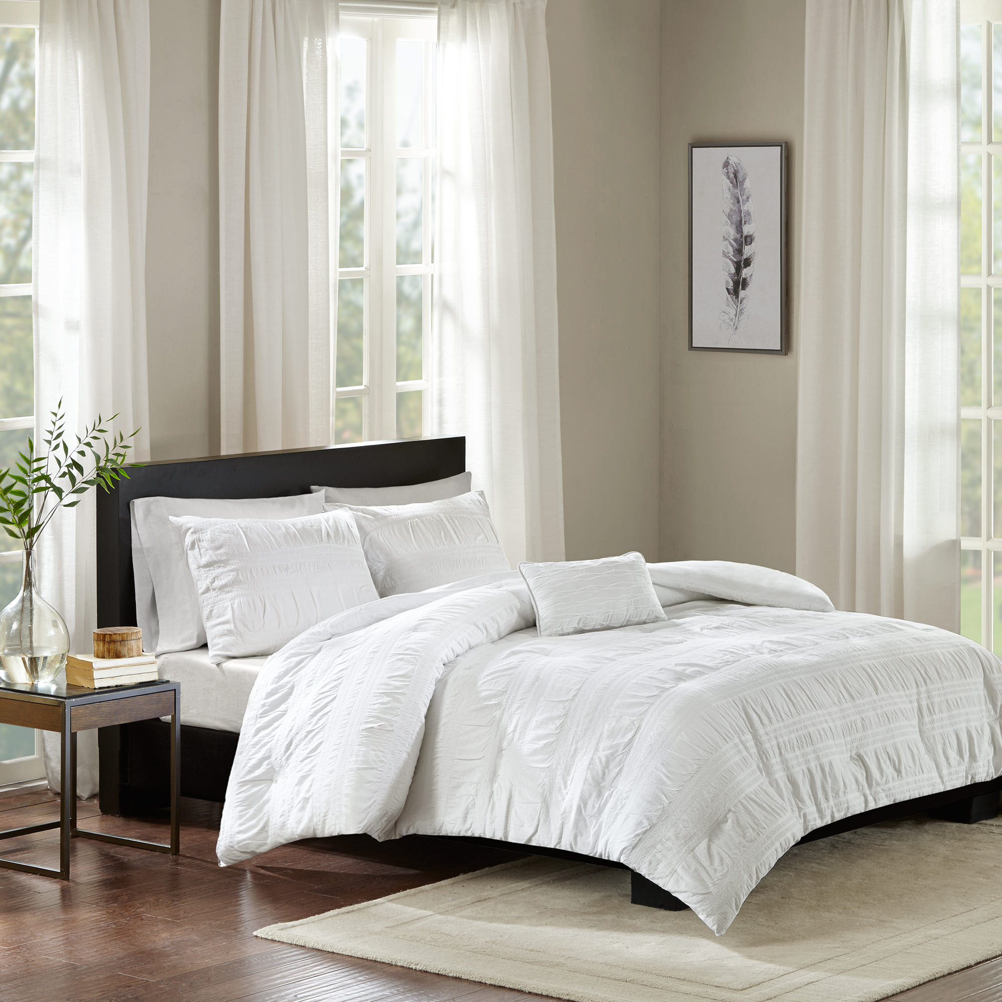 Home Essence Amari 4 Piece Cotton Seersucker Duvet Cover Set