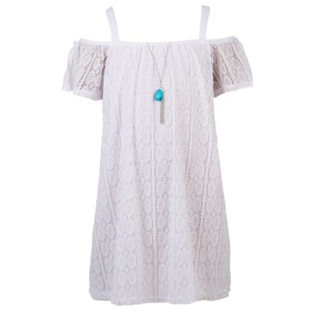 RMLA Girls' Cold Shoulder Dress with Necklace