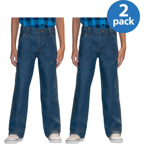 Faded Glory Slim Boys' Carpenter Denim Jeans, 2 Pack Value Bundle