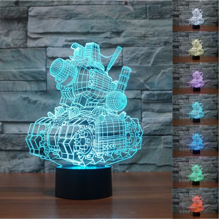 3D illusion Visual Night Light 7 Colors Change LED Desk Lamp Bedroom Home Decor - image 4 of 6