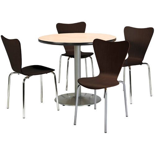 """KFI Round 42"""" Dia. Breakroom Table with 4 Espresso Bentwood Cafxc3xa9 Chairs, Natural Laminate Top"""