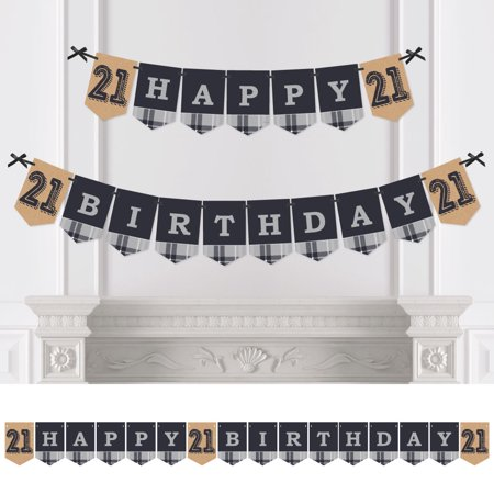 Finally 21 - 21st Birthday Party Bunting Banner - Vintage Party Decorations - Happy Birthday - 21 Birthday Decorations