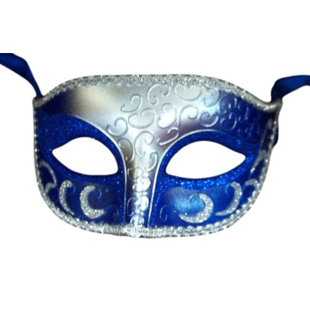 Blue Silver Venetian Men Elegant Masquerade Mardi Gras Halloween Costume - Halloween Masks Coloring Sheets