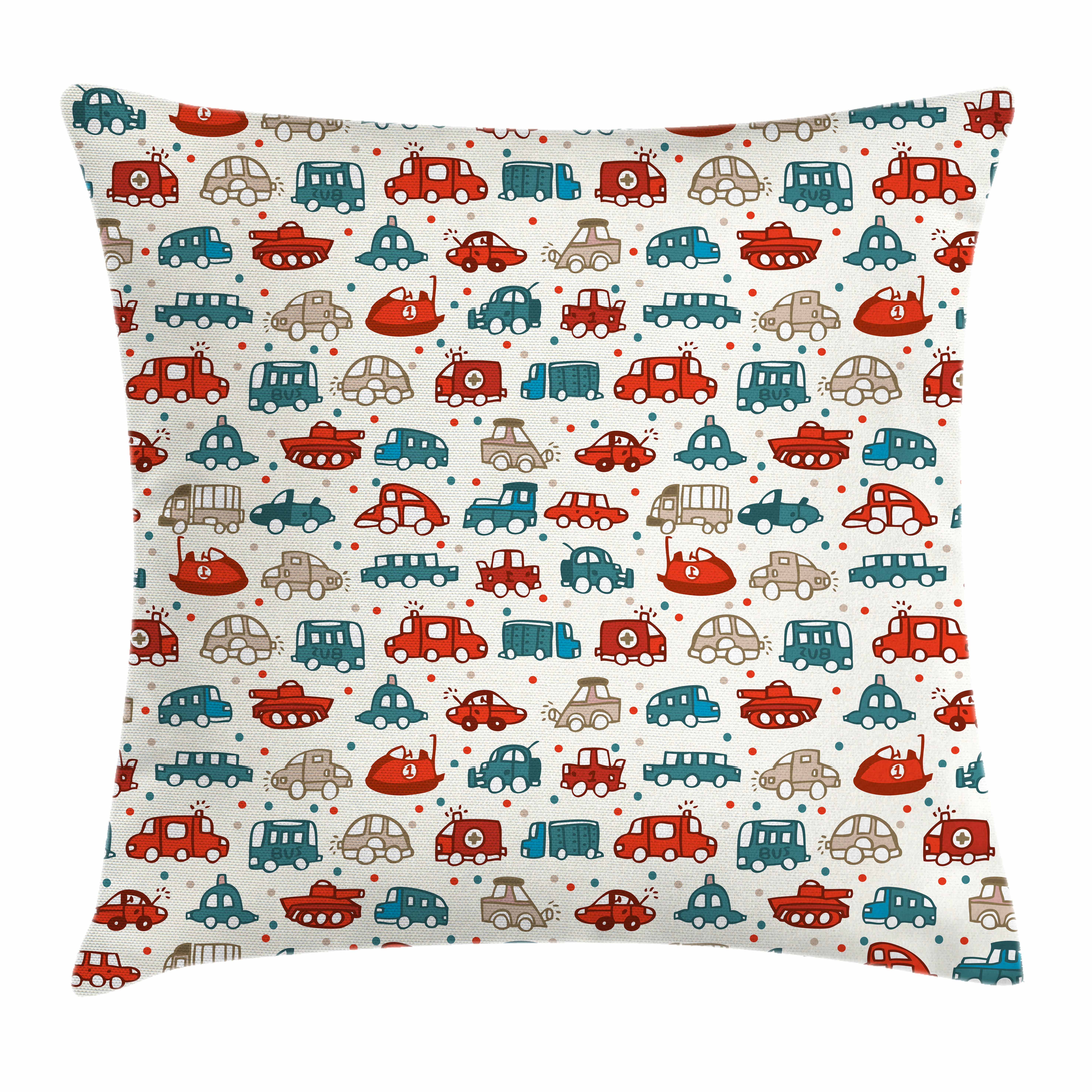 Cars Throw Pillow Cushion Cover, Cheerful Baby Boy Play Things in Kids Doodle Style with Many Different Vehicles, Decorative Square Accent Pillow Case, 16 X 16 Inches, Teal Scarlet Tan, by Ambesonne