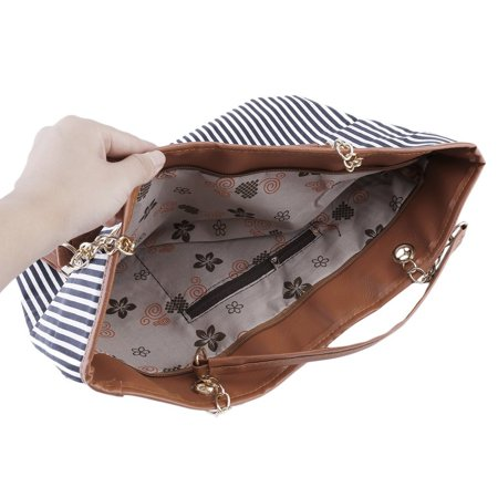 HC-TOP Womens Canvas plaid Handbags Girls Tote Satchel Beach Shoulder shopping Bags - image 3 de 6