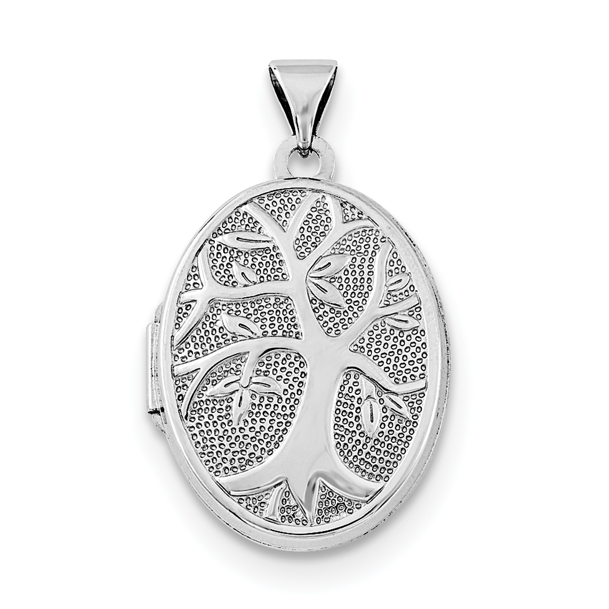925 Sterling Silver Rhodium-Plated 21x16mm Oval Tree Locket - image 3 of 3