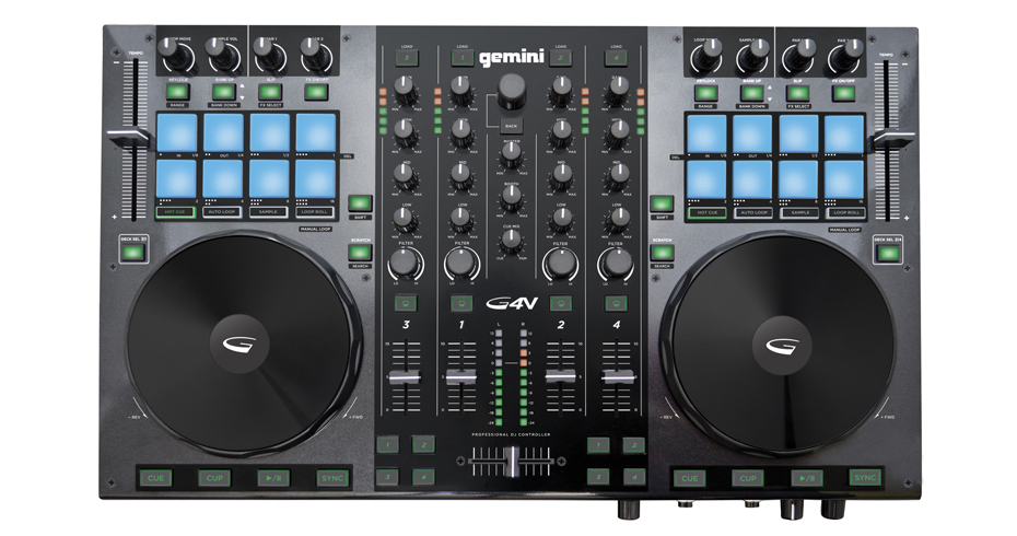 Gemini G4V Professional 4-Channel Virtual DJ USB MIDI Controller Mixer by Gemini