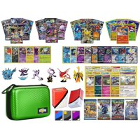 Totem World Pokemon Premium Collection 100 Cards with GX Mega EX Shining Holo 10 Rares 4 Booster Pack - 100 Sleeves - Green Card Case - Deck Box and Figure