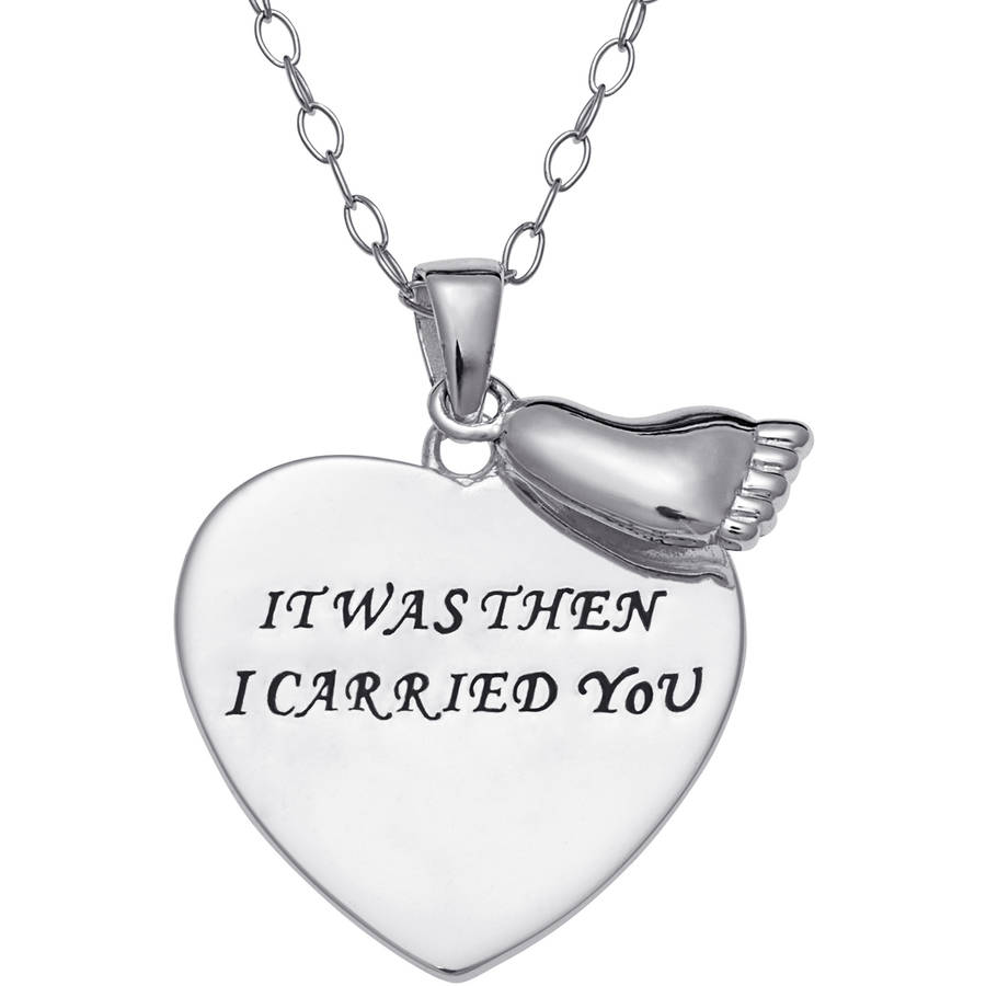 Sterling Silver Footprints Heart Sentiment Pendant, 18""
