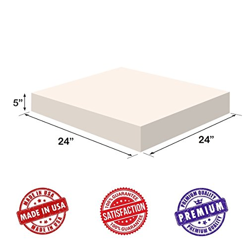 "Upholstery Foam-Square Cushion Sheet- 5""x24""x24"" Regular Density - Soft-Premium Luxury Quality-Good for Chair Cushions-Sofa Cushions-Wheelchairs-Poker Tables and much more, Dream Solutions USA"