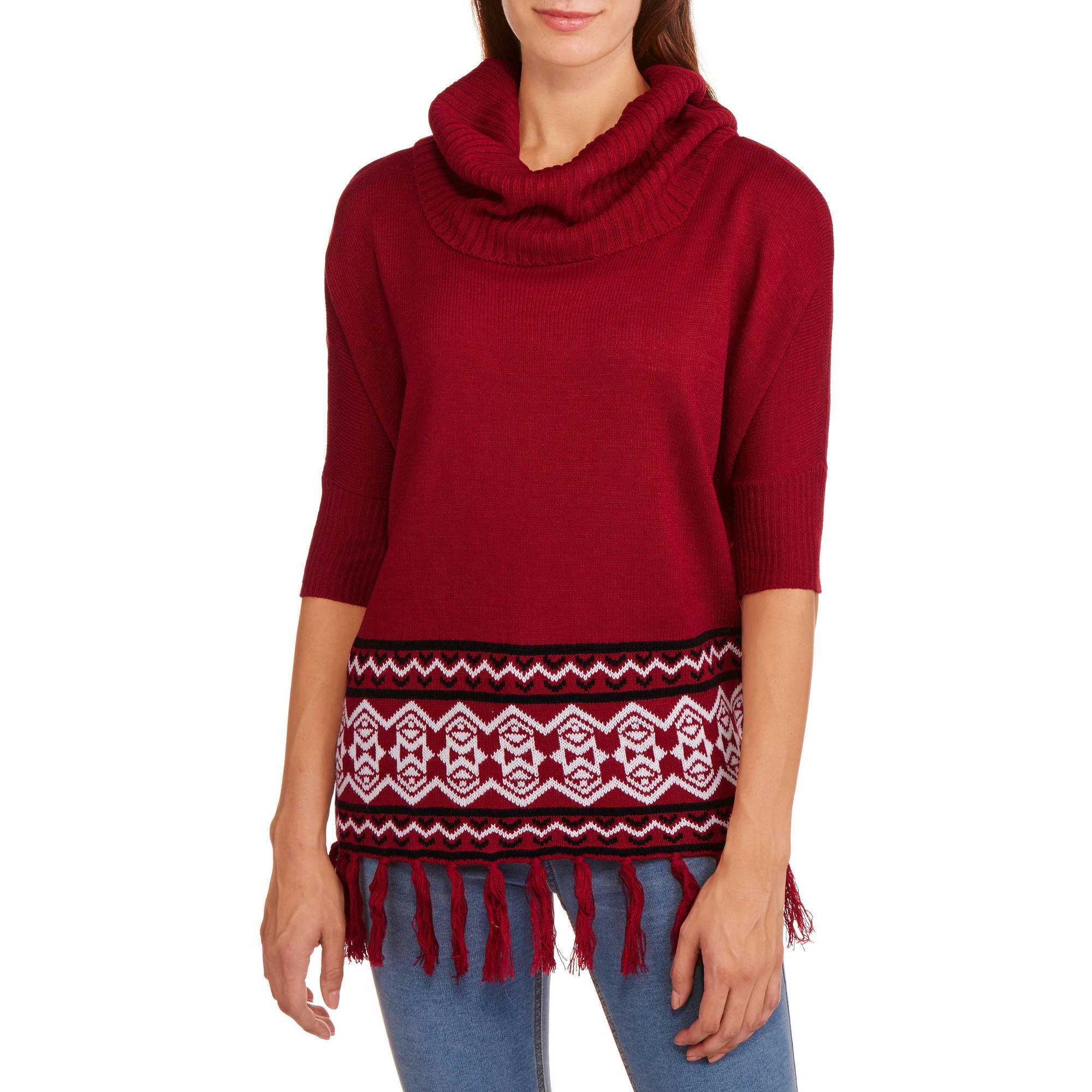 Allison Brittney Women's Dolman Fringe Cowl Neck Sweater