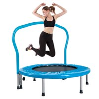 """Upgraded 36"""" Foldable Indoor Trampoline, Fitness Trampoline with Handrail & Safety Padded Cover, Mini Exercise Rebounder for Adults Kids, Perfect for Indoor Garden Workout - Max Load 180lbs, B102"""