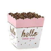 Hello Little One - Pink and Gold - Party Mini Favor Boxes - Baby Shower or 1st Birthday Party Treat Candy Boxes - Set of