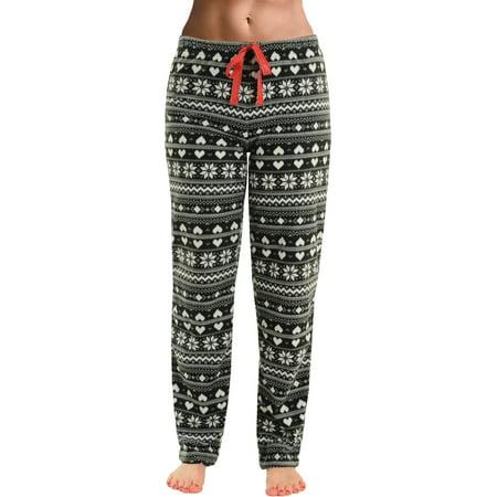 Women Holiday Pajamas (Womens Black White Pajama Pants Lounge Microfleece Holiday Snowflake Heart)