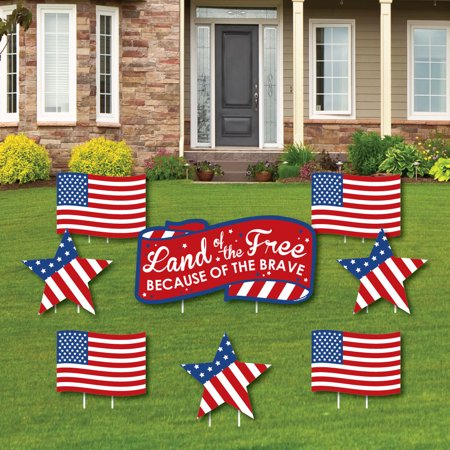 Patriotic - Yard Sign & Outdoor Lawn Cemetery Grave Decorations - 4th of July Yard Signs - Set of 8 for $<!---->