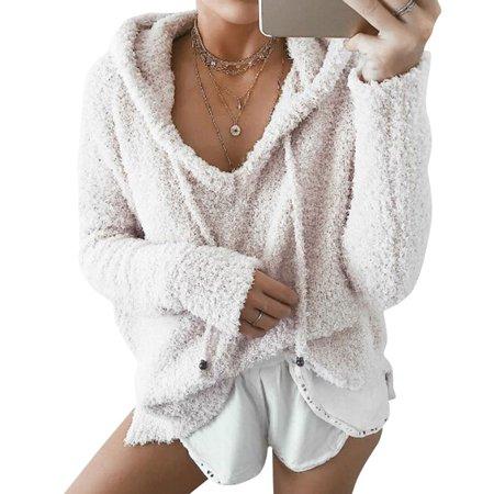 ZXZY Women Velvet V Neck Long Sleeve Pure Color Hoodie Tops