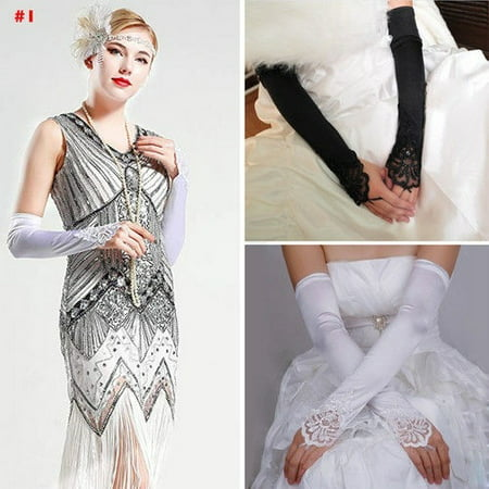 Black Elbow Gloves (Elbow Length Bridal Gloves Fingerless Lace Satin Wedding Gloves Wedding)