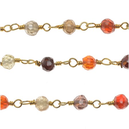 Multi Micro Faceted Gem. Vermeil Gold Wire Wrapped Chain 3mm Rounds - By Inch