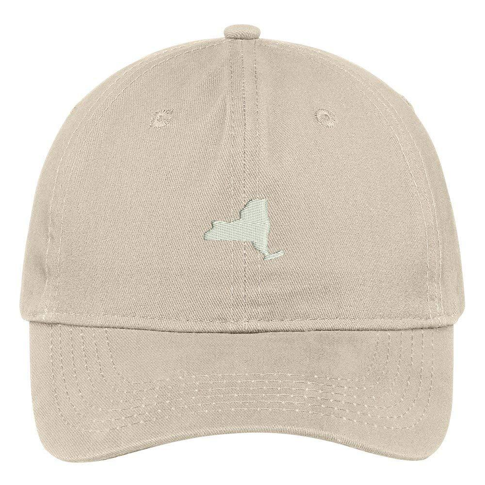 77a138806ac Trendy Apparel Shop New York State Map Embroidered Low Profile Soft Cotton  Brushed Baseball Cap - Walmart.com