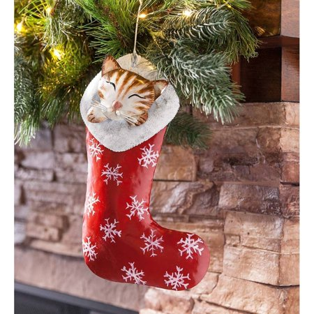 Christmas Kittens Stocking - Kitten in a Stocking Metal Ornament - Indoor Christmas Holiday Decor