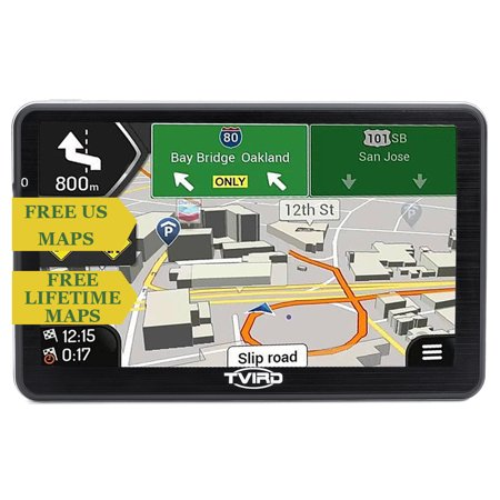 Tvird 3D GPS Navigator for Car with 7 Inch HD Touch Screen, Super-narrow Bezel Design,Multimedia SAT NAV Voice Prompt +USB Cable+Car + Free US (Best Truck Sat Nav App)