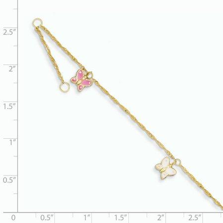 14K Yellow Gold Adjustable Enameled Butterfly Anklet - image 1 de 2