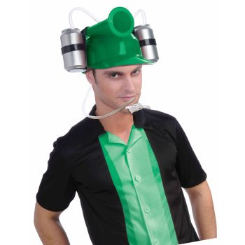 DRINKING HELMET W/HORN-GREEN - Drink Costumes