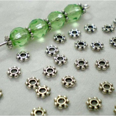 Iuhan Lots 200pcs Tibetan Silver Daisy Spacer Metal Beads 4mm Jewelry