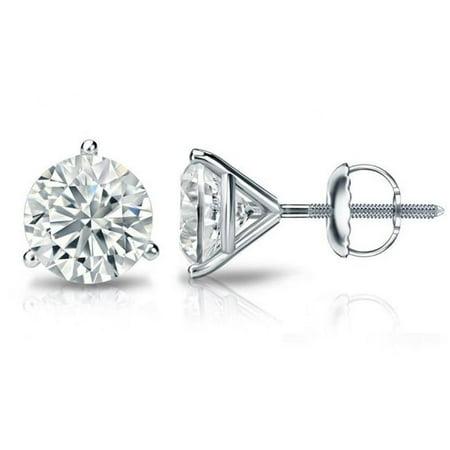 Harry Chad Enterprises HC10066 2.00 CT Three Prong Set Diamonds Lady Studs Earrings - 14K White Gold - image 1 de 1