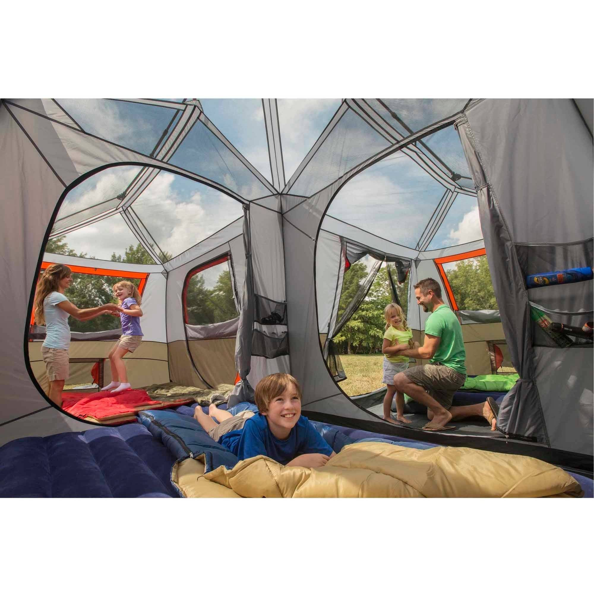Details about Camping Tent 3 ROOMS 12 Person Shaped Comfort Cabin Instant 2  MINUTES SET UP