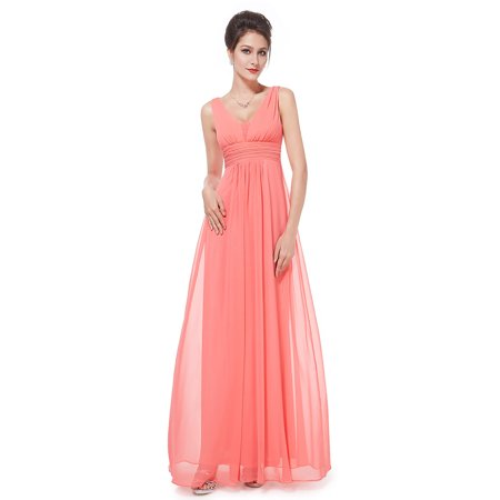 Ever-pretty - Ever-Pretty Women s Sexy Full Length V Neck Chiffon Summer  Black Tie Evening Party Wedding Guest Dresses for Women 08110 (Coral 8 US)  ... d15560ce858c