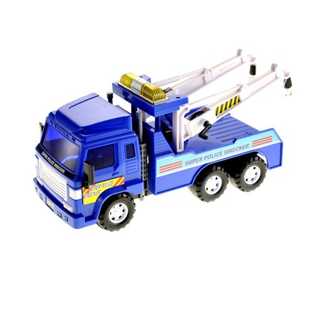 Aftermarket Heavy Duty Truck Parts - Big Heavy Duty Wrecker Tow Truck Police Toy for Kids with Friction Power, No Batteries Needed, Adjustable and Rotatable Double Hooks On Back, Great Car Toys Gift Birthday Giveaways for Boys and Girls