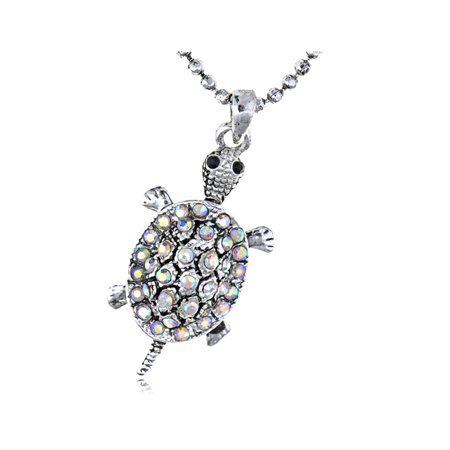 Tiny Tortoise Clear Aurora Borealis Crystal Rhinestone Turtle Pendant Necklace