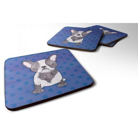 Set of 4 French Bulldog Polkadot Watercolor Foam Coasters Set of 4 BB7394FC